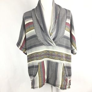 Billabong Top L Blanket Shirt Surfer Tribal Gray